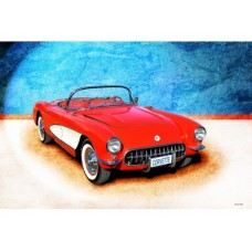 1956 Corvette metal tin sign