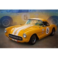 1956 Corvette Yellow tin metal sign