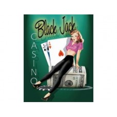 Black Jack Casino tin metal sign