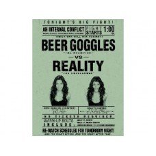 Beer Goggles Vs Reality tin metal sign
