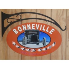 Bonneville Speed Shop Double sided tin metal sign