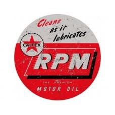 Caltex RPM large round tin metal sign