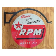 Caltex RPM large round with hanger tin metal sign