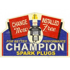 Champion Rectangle with Peak tin metal sign