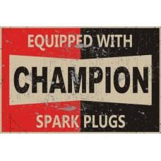 Champion Red/Black tin metal sign