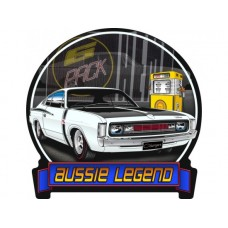 Aussie Legends Charger E49 White tin metal sign