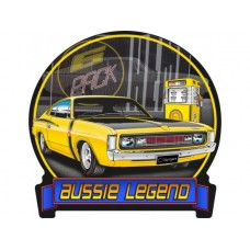 Aussie Legends Charger E49 Yellow tin metal sign