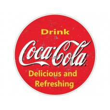 Coca Cola Drink Red Large Round tin metal sign