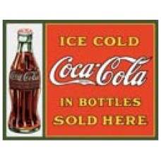 Coke Sold here in Bottles tin metal sign