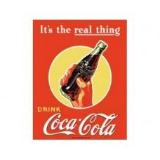 Coke Real Thing Bottle tin metal sign