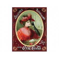 Coke Victorian Red Dress tin metal sign