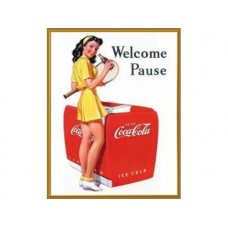 Coke Welcome Pause Tennis tin metal sign
