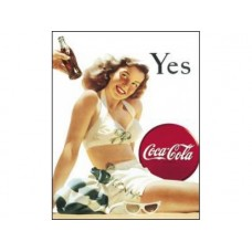 Coke White Bathing Suit tin metal sign