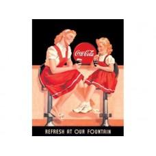 Coke-Refresh Fountain tin metal sign