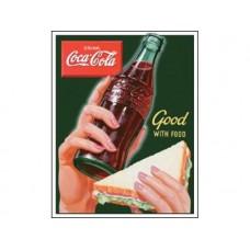 Coke-Good with Food tin metal sign