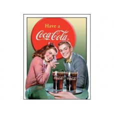 Coke-Young Couple tin metal sign