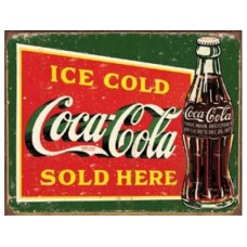 Coke-Ice Cold Green tin metal sign
