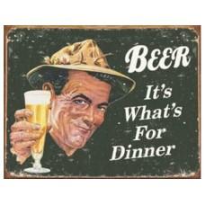 Ephemera - Beer for Dinner tin metal sign