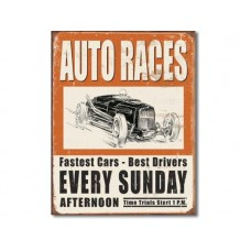 Vintage Auto races tin metal sign