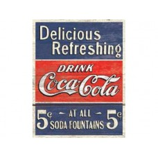 Coke-Delicious 5 cents tin metal sign