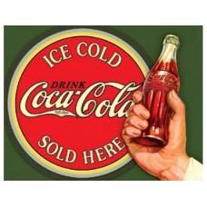 Coke-Ice Cold Bullseye tin metal sign