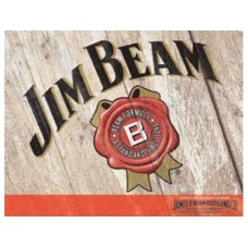 Jim Beam Woodcut tin metal sign