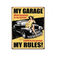 Legends-My Garage Rules tin metal sign