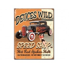 Deuces Wild Speed Shop tin metal sign