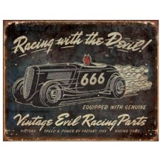 Vintage Evil Racing tin metal sign