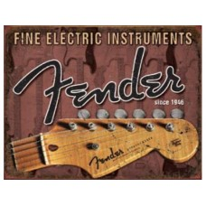 Fender-Head Stock tin metal sign