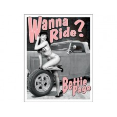 Bettie Page - Wanna Ride tin metal sign
