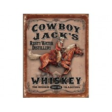 Cowboy Jack's Whiskey tin metal sign