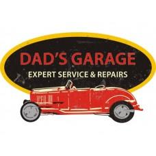 Dads Garage Oval Cutout tin metal sign