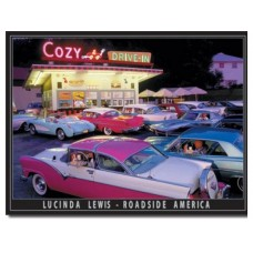 Lucinda Lewis-Cozy Drive In tin metal sign