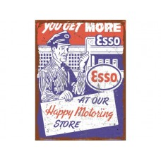 Esso You get More Rectangle Distressed tin metal sign