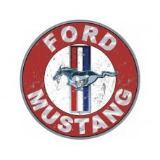 Ford Mustang round tin metal sign