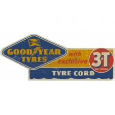 Goodyear 3T tin metal sign