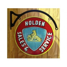 Holden Sales and Service Round plus hanger tin metal sign