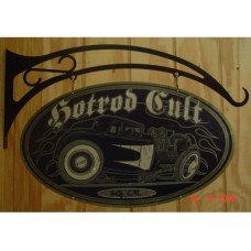 Hot Rod Cult Double Sided tin metal sign