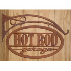 Laser cut Rusty Hot Rod Garage tin metal sign