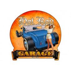 Hot Rod Garage banner tin metal sign