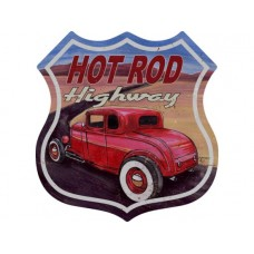 Hot Rod Highway shield tin metal sign