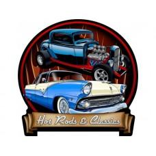 Hotrods and Classics tin metal sign