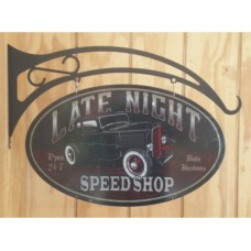Late Night Speed Shop Double Sided tin metal sign