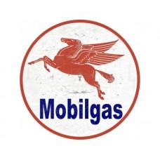 Mobilgas Large Round tin metal sign