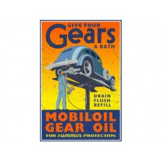 Mobil Gears tin metal sign