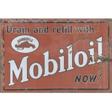 Mobil Oil Red tin metal sign