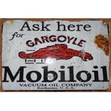 Mobil Gargoyle tin metal sign