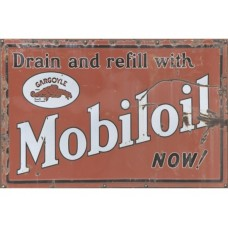 Mobil Oil Gargoyle tin metal sign