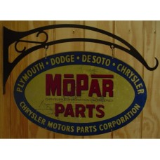 Mopar Parts Oval Double Sided Distressed tin metal sign